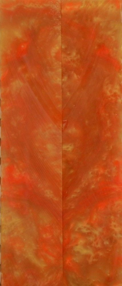 "Tangerine & Gold Inlace Acrylester  (2 pc) Mini Knife Scale  3/16""x1""x5""    001"
