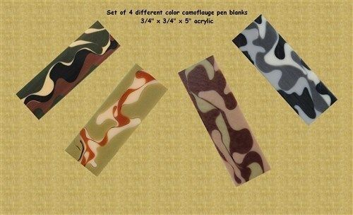 "Camouflage Pen Blank Assortment - 4 Different Camos 3/4"" x 3/4"" x 5"""