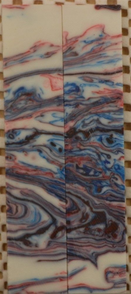 "Patriotic Swirl Inlace Acrylester  (2 pc) Mini Knife Scale  3/16""x1""x5""    002"