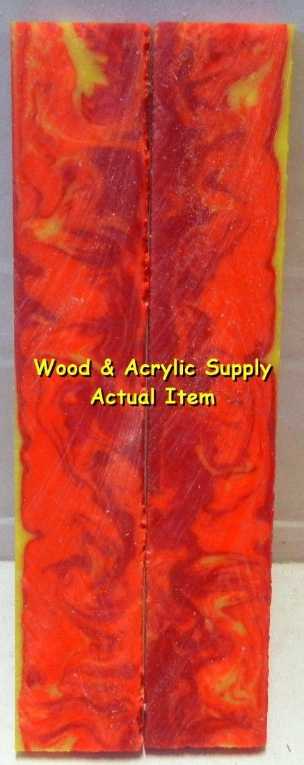 "Inferno Acrylester #54 (2 pc) Knife Scales 3/16"" x 3/4"" x 5"" 5940 - Wood Acrylic Supply"