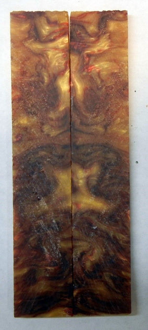 "Red Russet Gold Acrylester #22 (2 pc) Knife Scales 3/16"" x 1"" x 5"" - 1976"