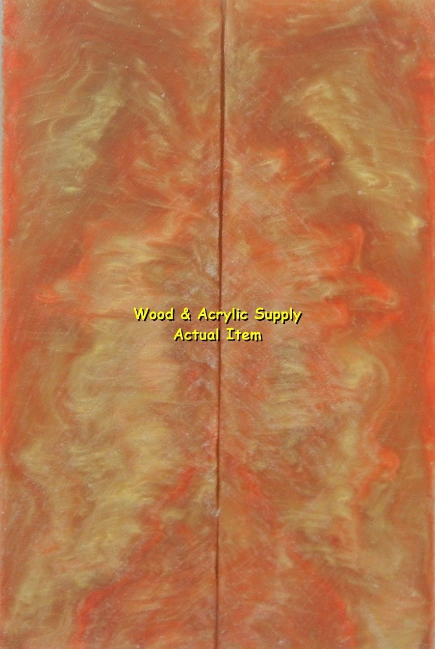 "Tangerine & Gold Acrylester #62 (2 pc) Knife Scales 1/4"" x 1 3/4"" x 6"" 5753"