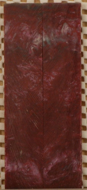 "Crimson & Silver Inlace Acrylester  (2 pc) Mini Knife Scale  3/16""x1""x5""    003"