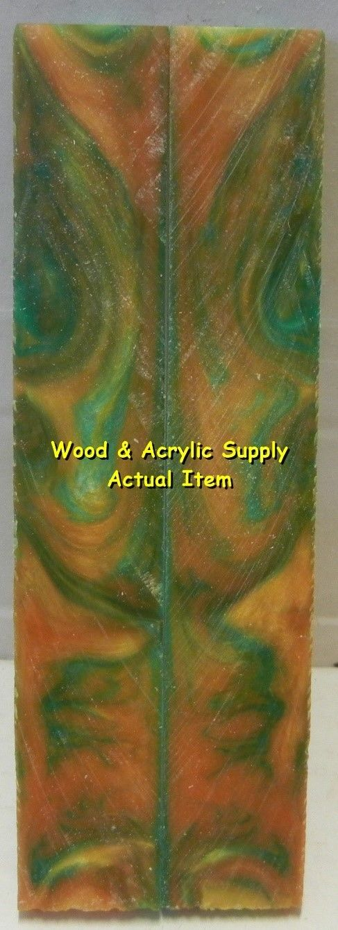 "Green & Gold Acrylester #49 (2 pc) Knife Scales 3/16"" x 3/4"" x 5"" 5939 - Wood Acrylic Supply"