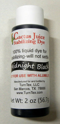 Midnight Black Cactus Juice Stabilizing Dye 2 oz net weight by TurnTex Woodworks