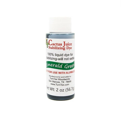 Emerald Green Cactus Juice Stabilizing Dye 2 oz net weight by TurnTex Woodworks - Wood Acrylic Supply