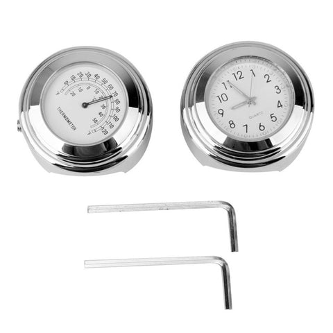 "2pcs 7/8""-1"" Handlebar Clock Temp Thermometer For Harley Honda Yamaha Suzuki A2"