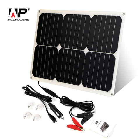 ALLPOWERS Solar Car Battery Charger 12V 18W Portable Solar Car Charger for 12V Battery Motorcycle Boat RV Fish Finder e.t.c