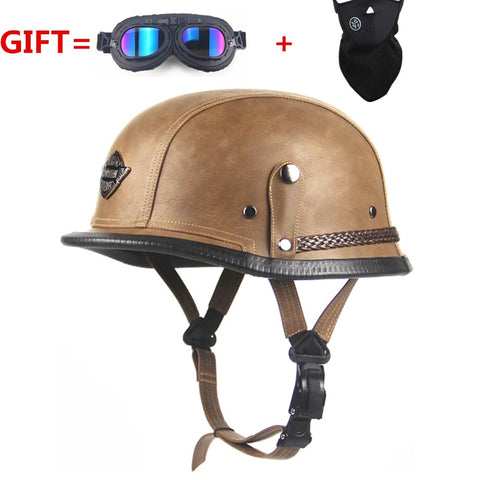 Adult Leather Harley Helmets For Motorcycle Retro Half Cruise Helmet Prince Motorcycle GERMAN Helmet Vintage Motorcycle Moto