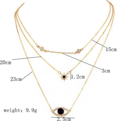 3 layers stars eye Pendant Chain