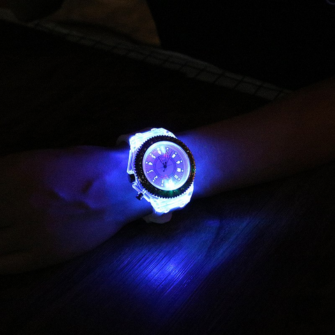 LED Luminous Rhinestone Wristwatch