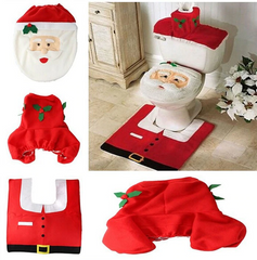 Santa Claus toilet tank cover and flooring rug