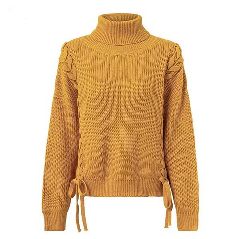 Casual Side lace up Turtleneck Loose pullover