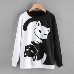 Black & white Cat Printed Sweatshirt