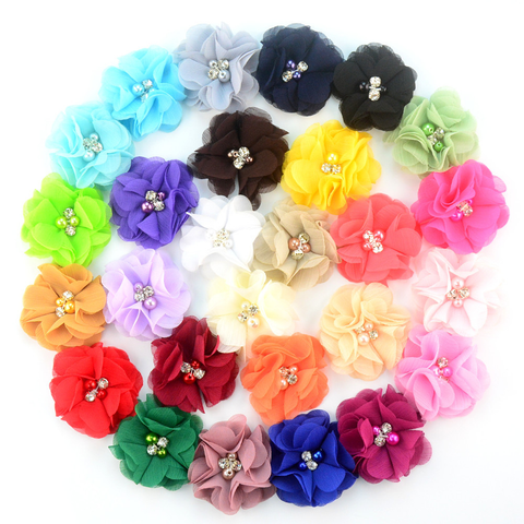 Petite Ballerina Chiffon Flower With Pearl Rhinestone Center-30pcs/lot
