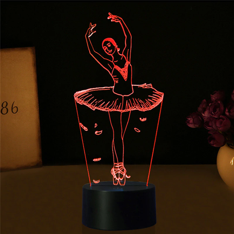 3D LED Ballet Girl 7-color Night Lights Table Lamp