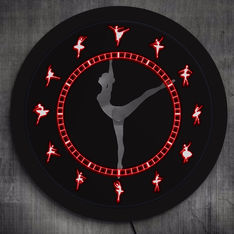 Ballerina LED Single Wall Clock displaying 7 Colors