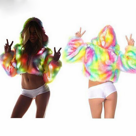 LED Lights Rainbow Faux Fur pullover