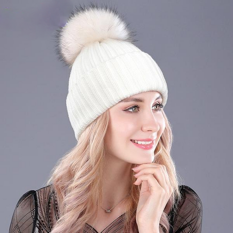 Warm Natural Raccoon Fur Headgear