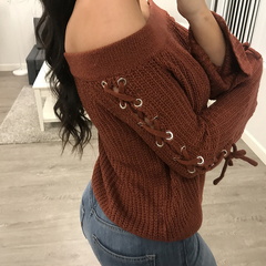Lace up off the shoulder flare sleeve sexy pullovers