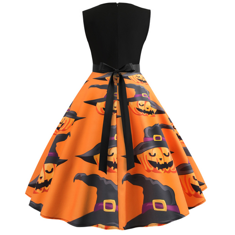 Women's Sleeveless O Neck Pumpkin dress