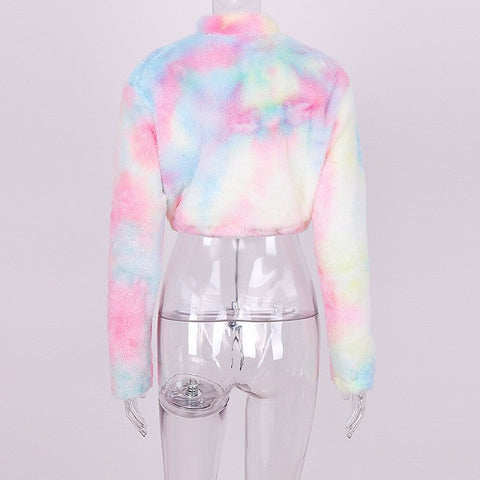 Rainbow Cropped Faux Fur pullover