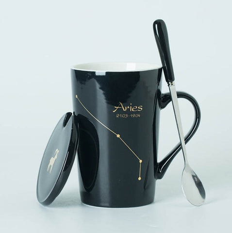12 Constellations Creative Mugs with Spoon and Lid