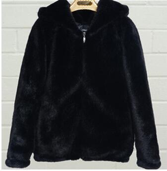 faux fur hooded coat jacket