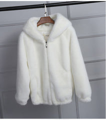 Faux Fur Coat With Hood High Waist Jacket