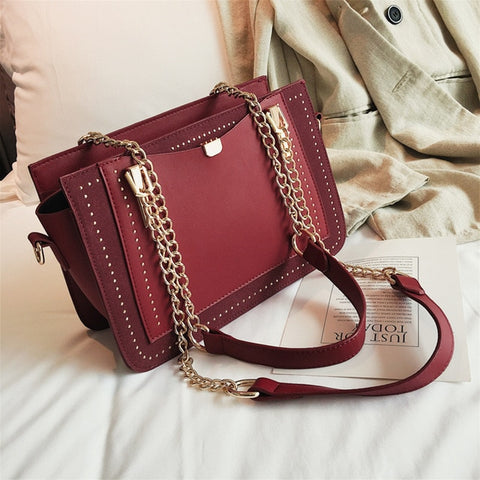 Wooden Clip Luxury Shoulder Bag