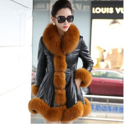 Sheepskin Slim Coats With Fur Fox Collars
