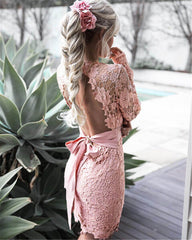 Backless Deep V neck Sexy Lace Dress