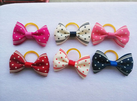 Handmade Hair Bows With Elastic Rubber Band 100 pieces/lot