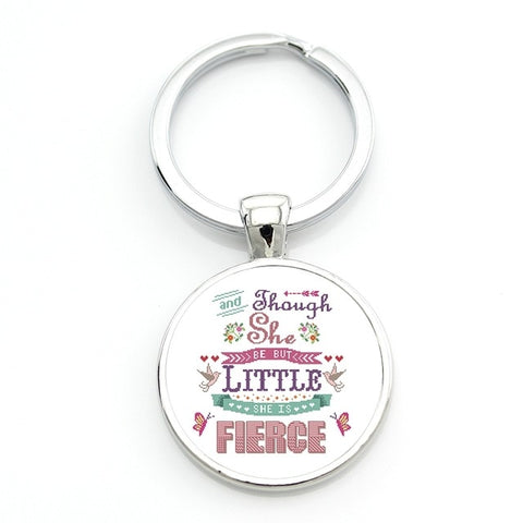 """Though she be but little she is fierce"" key-chain Shakespeare key chain holder"