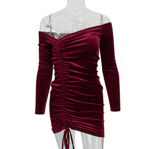 Drawstring Ruched Velvet Dress