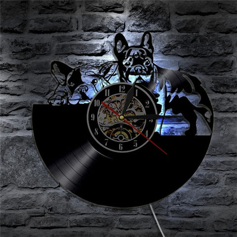 French Bulldog Silhouette Vinyl Record Wall Clock