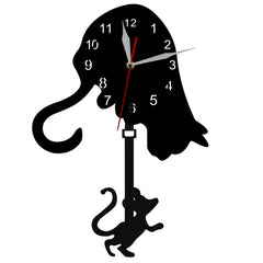 Curious Cat and Mouse Swinging Pendulum Wall Clock
