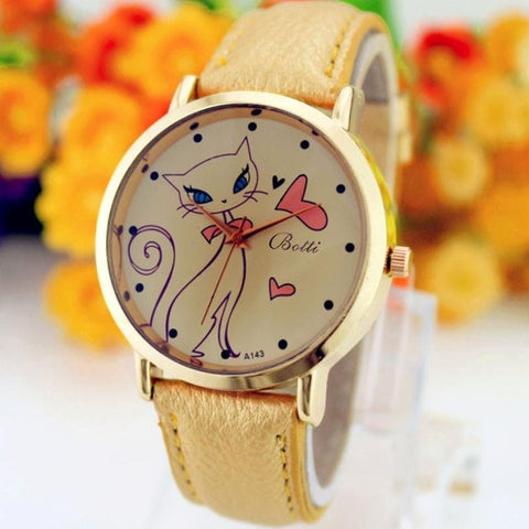 Crystal Luxury Quartz Cat Wrist Watch