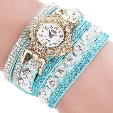 Rhinestone PU Leather Quartz Bracelet Watches