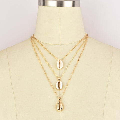 3 layers alloy shell Pendant Chain