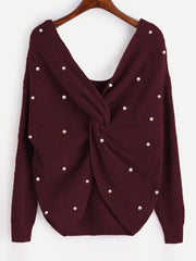 Pearl Beading V Neck Twist Knot Sweaters