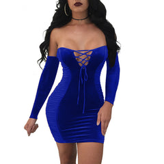 Lace-up V cut mini dress