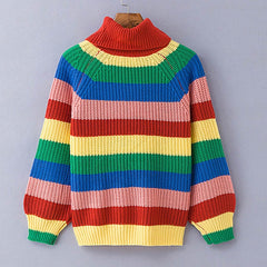 Rainbow turtleneck knitted pullover
