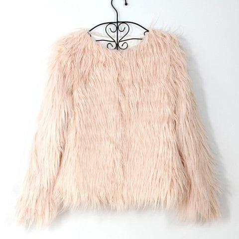 Furry Fluffy Warm Hairy Collarless Overcoat