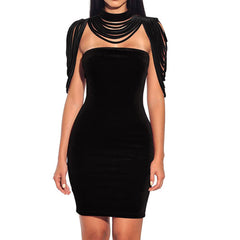 Velvet Strapless Night Club Removable Collar dress