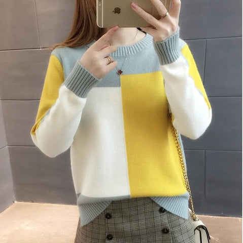 Contrast Color Long Sleeve Jumper