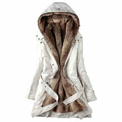 Hooded coat Thicken Faux fur Lining tops
