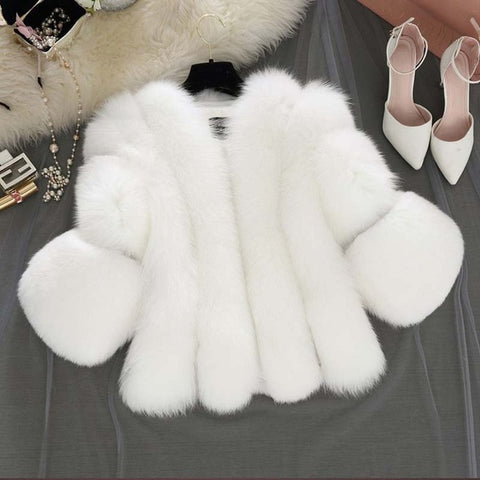 Glitzy Thick Fur Coat