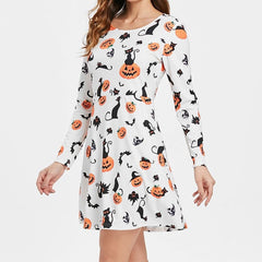 Pumpkin Printed Party Mini Dress