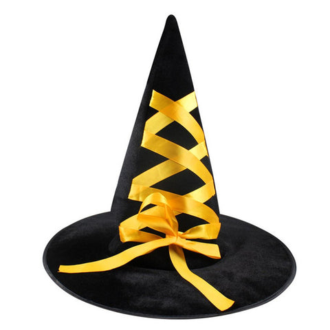 Corduroy Witch Fancy Hats With Ribbon